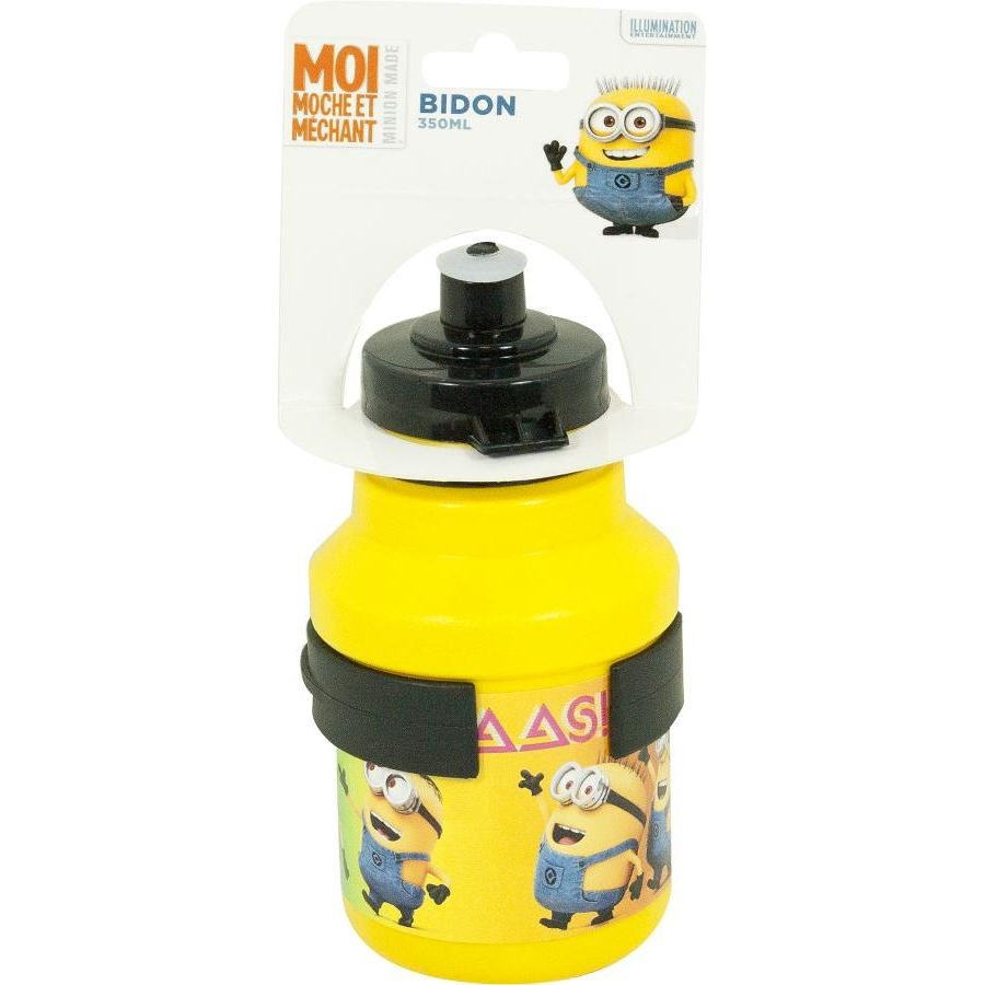 minions bidon 350 ml fahrradflasche gelb mit halter insportline. Black Bedroom Furniture Sets. Home Design Ideas