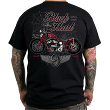 BLACK HEART Red Baron Chopper T-Shirt - schwarz