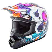 Fly Racing Kinetic Youth Invasion Kinder Motocross Helm - weiß-rosa