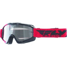 Fly Racing RS Zone Youth Kinder Motocross Brille - schwarz/rot, klare Visier mit Zapfen für Sliden