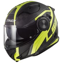 LS2 FF313 Vortex Solid Carbon Klapphelm - Carbon Hi Vis Yellow