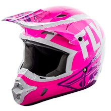 Fly Racing Kinetic Burnich Motocross Helm - neon rosa/weiss/violett