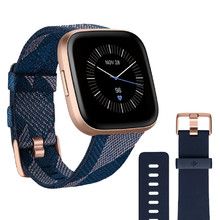 Fitbit Versa 2 Special Edition Navy & Pink Woven Smartwatch