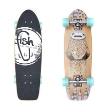 "Fish Old School Cruiser Narwhal 26"" Mini Longboard - Silver-Summer Green"