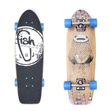 "Fish Old School Cruiser Narwhal 26"" Mini Longboard - Silver-Blue"