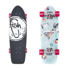 "Fish Old School Cruiser Party 26"" Mini Longboard - Silver-Magenta"