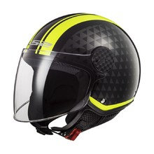 LS2 OF558 Sphere Lux Motorradhelm - Crush Black H-V Yellow
