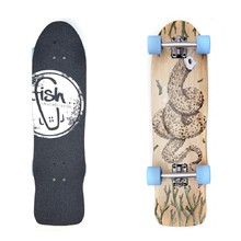 "Fish Old School Cruiser Seadragon 32"" Mini Longboard - Silver-Blue"